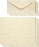 Vintage Antique Old Parchment Stationery Paper And Envelopes Set 8.5 X 11 In, 4