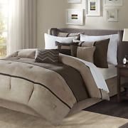 Madison Park Palisades Queen Size Bed Comforter Set Bed In A Bag - Brown Taupe