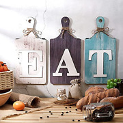 3 Pieces Rustic Wooden Eat Cutting Board Sign Hanging Wall Decor Large Farmhouse