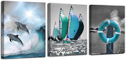 Ardemy Canvas Wall Art Ocean Teal Blue Dolphin Painting Sailboat Pictures, Moder