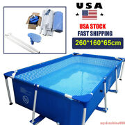 8.5ft X 6ft X 26in Metal Frame Rectangular Above Ground Swimming Pool Steel Pipe