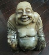 Antique Chinese Green Jade Buddha Happy Laughing 8+ Pounds 6 X 4 X 7 Rare