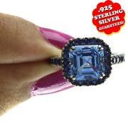 Hsn Jean Dousset Ceylonand Created Blue Sapphire Pave Frame Ring 8 470