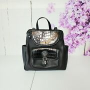 Brighton Backpack Black Croc Embossed Leather Magnetic Divided Section Purse