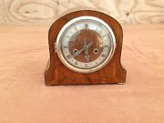 Antique Wood Case Smiths Enfield Mantle Clock With Key