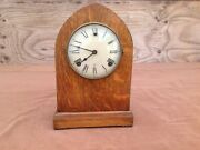 Antique Wood Case Gilbert Mantle Clock With Key