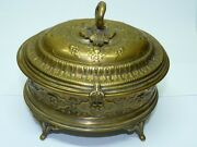 Antique C1900 Etrog Box Wmf Warsaw Poland Marked Silver-plated Repousse H 12 Cm