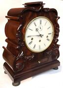 Comitti Of London Carved Mahogany Multiple Tune Bracket Clock Chime Silent