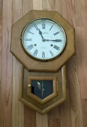 """Vintage Montgomery Ward And Co. 30 Day Wood Pendulum Wall Clock 20"""" X 12"""""""