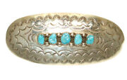 Dc Thomas Large Vintage Navajo Sterling Silver Turquoise Signed Hair Barrette