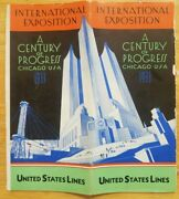Us Line Brochure Issued For Century Of Progress Expo In Chicago 1933 - Photos