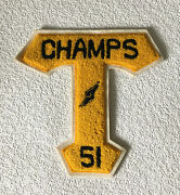 """Vintage Varsity Lettermans Chenille Patch """"t"""" 1951 Track Champs Gold And Black"""