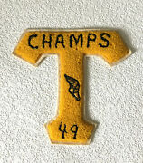 """Vintage Varsity Lettermans Chenille Patch """"t"""" 1949 Track Champs Gold And Black"""