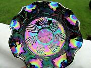 Fenton 1980's Amethyst Carnival Glass Butterfly And Berry Fantail Bowl 9w X3.5h