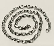 18k Solid White Gold Handmade Cable Link Chain/necklace 18 43grams 5.9mm