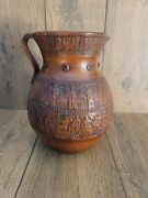 Vintage Handmade Red Clay Terracotta Pottery Pitcher Made In Greece 8.5 In Tall