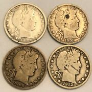 4 Vg Barber Silver U.s. Half Dollar Coins With Flaws. 1898 1900 1906-o 1912-d