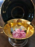 Vintage Antique Paragon Red Gold Large Cabbage Rose Tea Cup And Saucer Mint