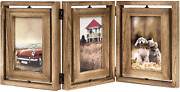 Emfogo 4x6 Picture Frame Rustic Wood Hinged Folding Triple Picture Frames Collag