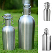Beer Growler Bottle With Flip Top 64 Oz Stainless Steel Hip Flask Silver