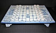 Rare Chinese Full Size Blue And White Porcelain Chess Xiangqi Board Game, Complete
