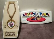 Armitron Warner Brothers Pepe Le Pew Penelope Musical Heart Necklace Watch Htf
