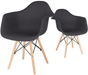 Canglong Mid Century Modern Dsw Molded Shell Lounge Plastic Arm Dining-chairs, S