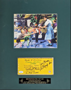 Wizard Of Oz 7 Munchkins Autographed Yellow Brick Matted Photo And Inscriptions