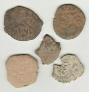 5 1610-1665 Spanish Coin/cobs With Detail, Pirate Time You Restore