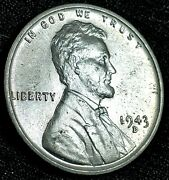 1943-d Bu Uncirculated Steel Lincoln Cent Wheat Penny Usa Coin