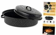 18 Turkey Roasting Pan With Lid - Covered Oval Roaster - Enamel Carbon 18 Inch