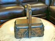 Chinese Antique Lidded Lunch Box With Volutes, Handle And Distressed Finish