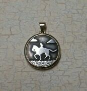 James Avery Sterling Silver 14k Pendant Cowboy Riding Horse Retired Very Rare