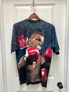 Vintage 1995 Mens Mike Tyson L'll Be Back T-shirt Blue All Over Print 2 Sided L