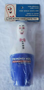 Nos Vintage Pin-money Pete The Bowlers Kitty Bank Spare Time Blue Bowling Pin