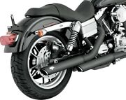 Twin Slash Black 3 Slip On Exhaust Vance And Hines 46837 For 91-17 Harley Fxd