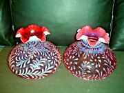 Fenton Cranberry Opalescent Daisy And Fern Glass 10 Furled Lamp 1 Shade Only
