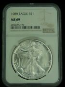 1989 1 American Silver Eagle Coin Ms69 Ngc Value Listed 90 Sp Lqqk