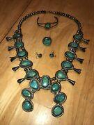 Vintage Navajo 24 Sterling Silver Squash Necklace Green Turquoise W/ Earrings +