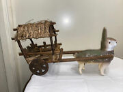 Antique Paper Mache Bunny Rabbit W/ Wooden Wagon Cart Toy Candy Container