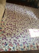 Vintage Quilt Hand Stitched/made Estate Sale 1920s-1930s Purple Red Flowers