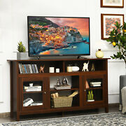 Costway 58 Tv Stand Entertainment Console Center W/ 2 Cabinets 65 Walnut