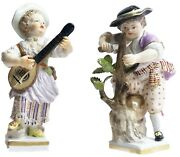 Meissen Porcelain Pair Of Mandolin Player And Woodcutter Figurines Ca. 1860andrsquos