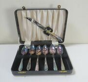 1940s Viners Sheffield England Silverplate Spoons -set Of 6, Knife, Leather Case