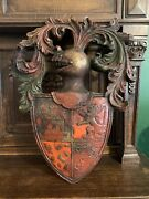 Antique English Large Heraldic Crest Knight Coat Of Arms Shield Lion Castle