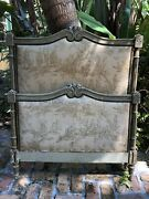 Antique Twin Size Upholstered Toile Bed