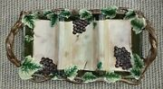 Pacific Rim Sonoma Handled 3 Section Relish Tray 15 3/4 Embossed Grapes Leaves