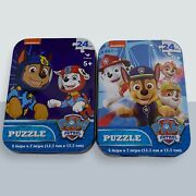 2 Paw Patrol Mini Puzzle Collector Tins 24pc New Sealed 5 X 7 Age 5+ Jigsaw