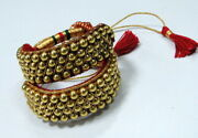 Vintage 22 K Solid Gold Beads Bracelet Cuff Tribal Ethnic Ponch Pair
