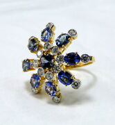 18 K Solid Gold Tanzanite And Diamond Set Cocktail Ring Jewelry -see Video